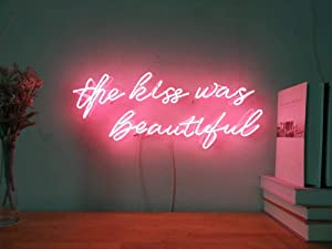 The Kiss Was Beautiful Custom Dimmable LED Neon Signs for Wall Decor (Customizable Options: Color, Size, Wall Mounted, Desktop Type, Hanging in a Window/Ceiling,Electrical/Battery Powered)