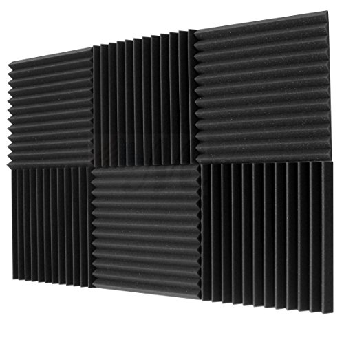 "6 Pack- Acoustic Panels Studio Foam Wedges 1"" X 12"" X 12"" - Color: Charcoal"