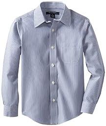 Brooks Brothers Big Boys\' Non Iron Candy Stripe Forward Point Collar Barrel Cuff Shirt, Blue, 18