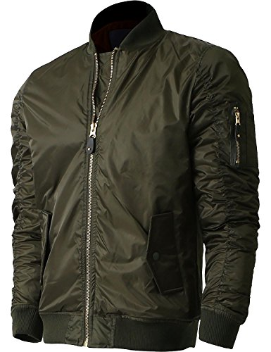 Reversible Snap Zip Jacket - Hat and Beyond Mens Active MA-1 Bomber Flight Casual Lightweight Jacket (Large, SMA-1 Military)
