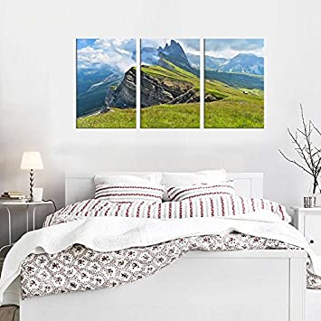 yearainn Canvas Art Nature Painting Framed Ready to Hang – 60 x 30 3 Piece Canvas Prints Large Landscape Painting Artwork Mountain Cliff Artwork for Wall Decor in Living Room Bedroom