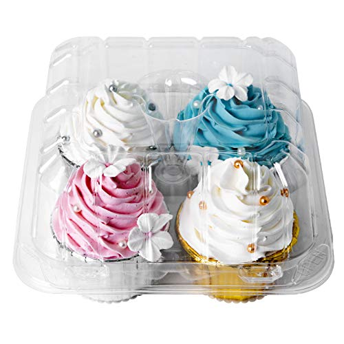 [25pcs]Clear Cupcake Boxes 4 Cavity Holder,ONE MORE Large 4 Compartment Muffin Containers Plastic Cupcake Carrier with Deep Dome 4