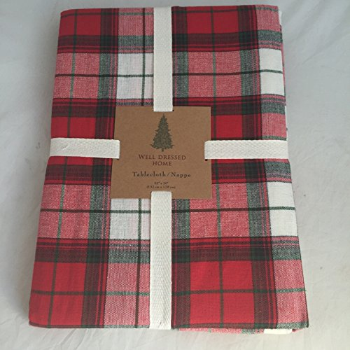 Well Dressed Home Red Green Royal Stewart Tartan Striped Plaid Christmas Fabric Tablecloth Linens (60 IN x 84 IN (152 cm x 213 - Stuart Royal Tartan
