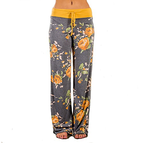 Ladybranch Women's Pajama Comfy Stretch Floral Print Lounge Pants High Waist Wide Leg Pants (X-Large, Yellow)