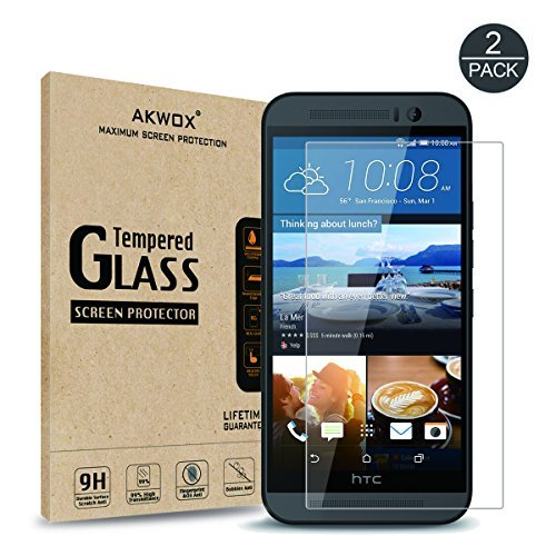 (Pack of 2) HTC One M9 Screen Protector, Akwox Ultra Thin 0.33mm 9H Tempered Glass Screen Protector for HTC One M9 - with Lifetime Replacement Warranty