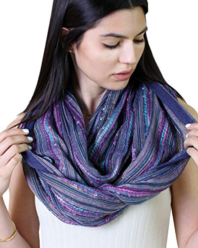 Women's Festival Bliss Infinity Scarf, Multicolor Boho Chic Shawl (Blue Turquoise)