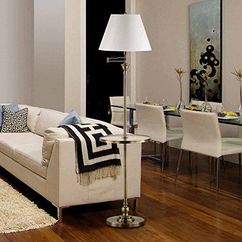 Sleek & Elegant Swing Arm Floor Lamp with Adjustable Lighting & Tempered Glass Tray Table, Antique Brass Finish