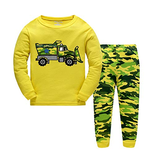 Toddler Boys Pyjamas for Toddler Kids Bulldozer Long Nightwear Sleepwear Pjs Set Sleepsuit Size 4-5 Years 5T