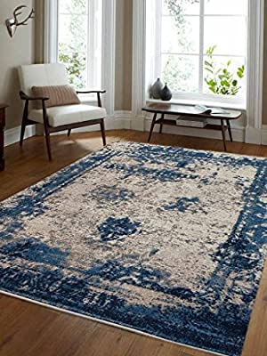 Rugsotic Carpets Machine Woven Heatset Polypropylene Area Rug Vintage Beige Blue M00019