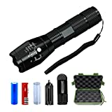 RC Tactical Flashlight, 1000 Lumens Zoomable Adjust Focus 5 Modes Anti Water LED-Torch 18650 Lithium Ion [Rechargeable] Battery & Charger Gun,Bike,Police,Camping,Emergency