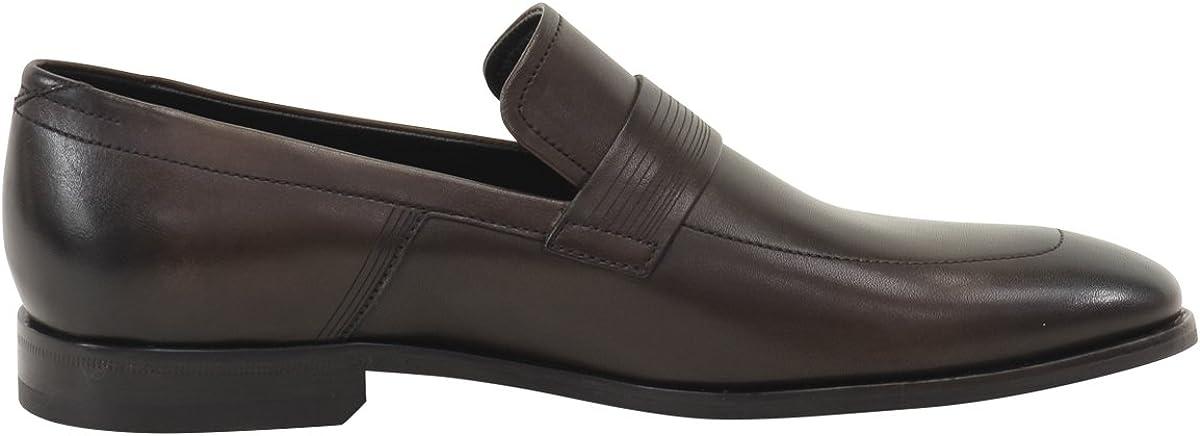 Hugo Boss Mens Square/_Loaf/_Itls Dark Brown Leather Loafers Shoes