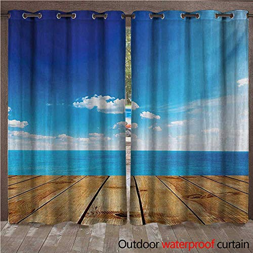 BlountDecor Landscape Outdoor Curtain Panel for Patio Seascape View from Pier Under Cloudy Vivid Summer Sky Beach Theme PrintW120 x L96 Blue White Brown (Lighted Pier Right)