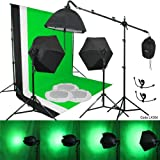 Linco Lincostore 3 pcs Muslin Background Support Kit 3 Softbox Photo Video Lighting Studio Set Kit-9x10 feet backdrop stand/ Removable, Zoomable, Bulb-protective Softbox