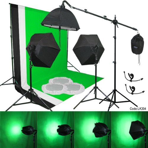 Linco Lincostore 3 pcs Muslin Background Support Kit 3 Softbox Photo Video Lighting Studio Set Kit-9x10 feet backdrop stand/ Removable, Zoomable, Bulb-protective Softbox by Linco
