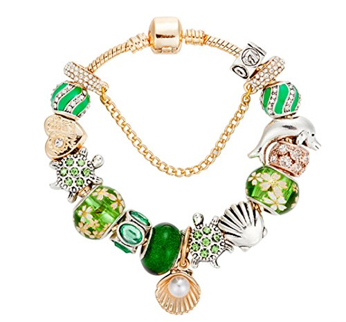 QUEEN JULIA Charm Bracelets for Women Girls Pandora Heart Charms Love, Lock and Key, Butterfly, Bear, Life Tree for Women for Valentines Birthday (Gold)