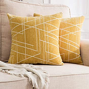 MIULEE Pack of 2 Decorative Throw Pillow Covers Woven Textured Chenille Cozy Modern Concise Soft Yellow Square Cushion Shams for Bedroom Sofa Car 18 x 18 Inch