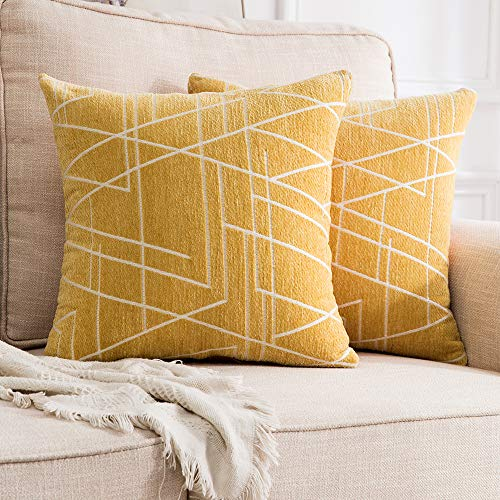 MIULEE Pack of 2 Decorative Throw Pillow Covers Woven Textured Chenille Cozy Modern Concise Soft Mustard Yellow Style One Square Cushion Shams for Bedroom Sofa Car 18 x 18 Inch ()