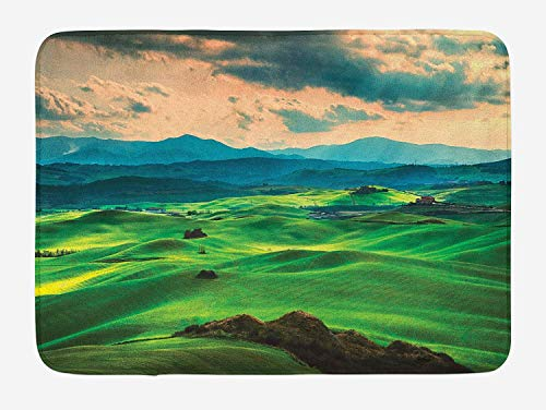 (Weeosazg Tuscany Bath Mat, Tuscany Spring Rolling Hills on Sunset Agriculture Farmlands Volterra Italy, Plush Bathroom Decor Mat with Non Slip Backing, 31.5 X 19.7 Inches, Seafoam)