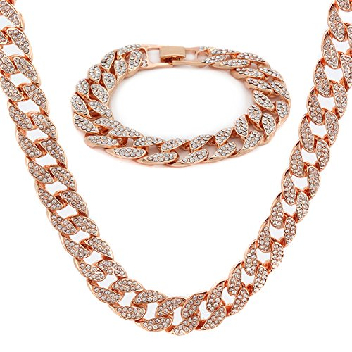 Rose Gold Plated Brass Fully CZ Iced Out 15mm 30' Hip Hop Miami Cuban Chain...