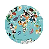 Polyester Round Tablecloth,Kids,Educational World Map Africa Camel America Lama Alligator Ocean Australia Koala Print Decorative,Dining Room Kitchen Picnic Table Cloth Cover,for Outdoor Indoor