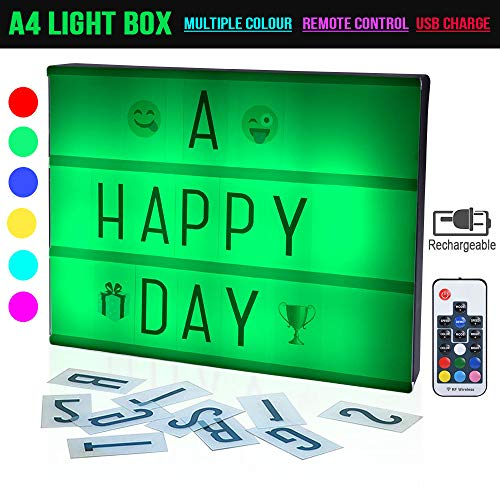 Cinema Light Box A4 Size 19 Colors Remote-Controlled LED Rechargeble Light Box with 230 Letters for Wedding, Halloween, Chrismas,Dorm Room Decorations -