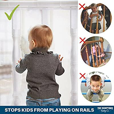 Stair Railing & Banister Guard Netting – 10ft L x 2.5ft H Guard Rail – Indoor & Outdoor, Balcony & Stairway Deck Railing Safety Net – Banister Stairwell Mesh – Baby & Child Safety; Pet Safety; Stairs
