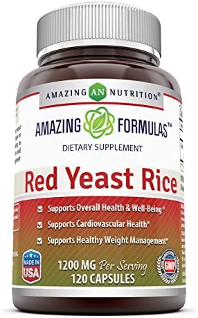 Amazing Nutrition Red Yeast Rice Dietary Supplement - 1200mg of Best Quality Red Yeast Rice Powder Per Serving Supports Cardiovascular Health- 120 Capsules Per Bottle Non-GMO,Gluten Free