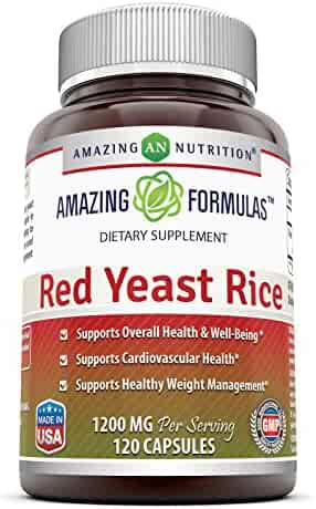 Amazing Nutrition Red Yeast Rice Dietary Supplement - 1200mg of Best Quality Red Yeast Rice Powder Per Serving – Supports Cardiovascular Health- 120 Capsules Per Bottle