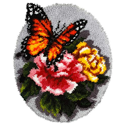 - Orchidea Latch Hook Rug Kit Floral Butterfly, Assorted, 49x61cm