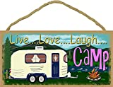 Mountains Live Love Laugh Camp Camping Sign Camper Plaque 5''x10''