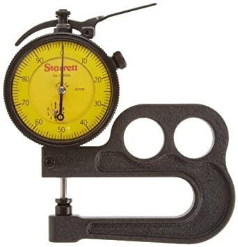Starrett 1015MA Millimeter Reading Portable Dial Indicator 1015MA-481J Thickness Gauge Without Case, 0.01mm Graduation, 10mm Range, 0-100 Dial Reading