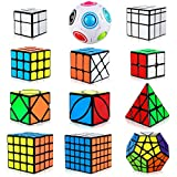 Dreampark Speed Cube Set, [12 Pack] Cube Bundle Pyramid Cube 2x2 3x3 4x4 5x5 Megaminx Skew Ivy Mirror Cube Magic Rainbow Ball Smooth Sticker Puzzle Cubes Collection for Kids
