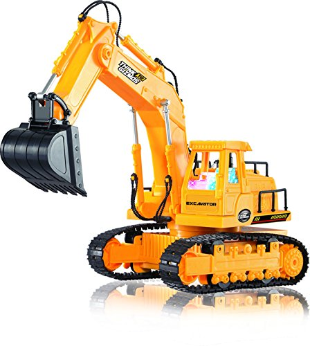 Remote Control Toy Excavator Construction Vehicle TG643 - 7 Channel Full Function RC Excavator Toy For Boys - With Lights & Sounds By ThinkGizmos (Trademark Protected) (Remote Control Excavator compare prices)