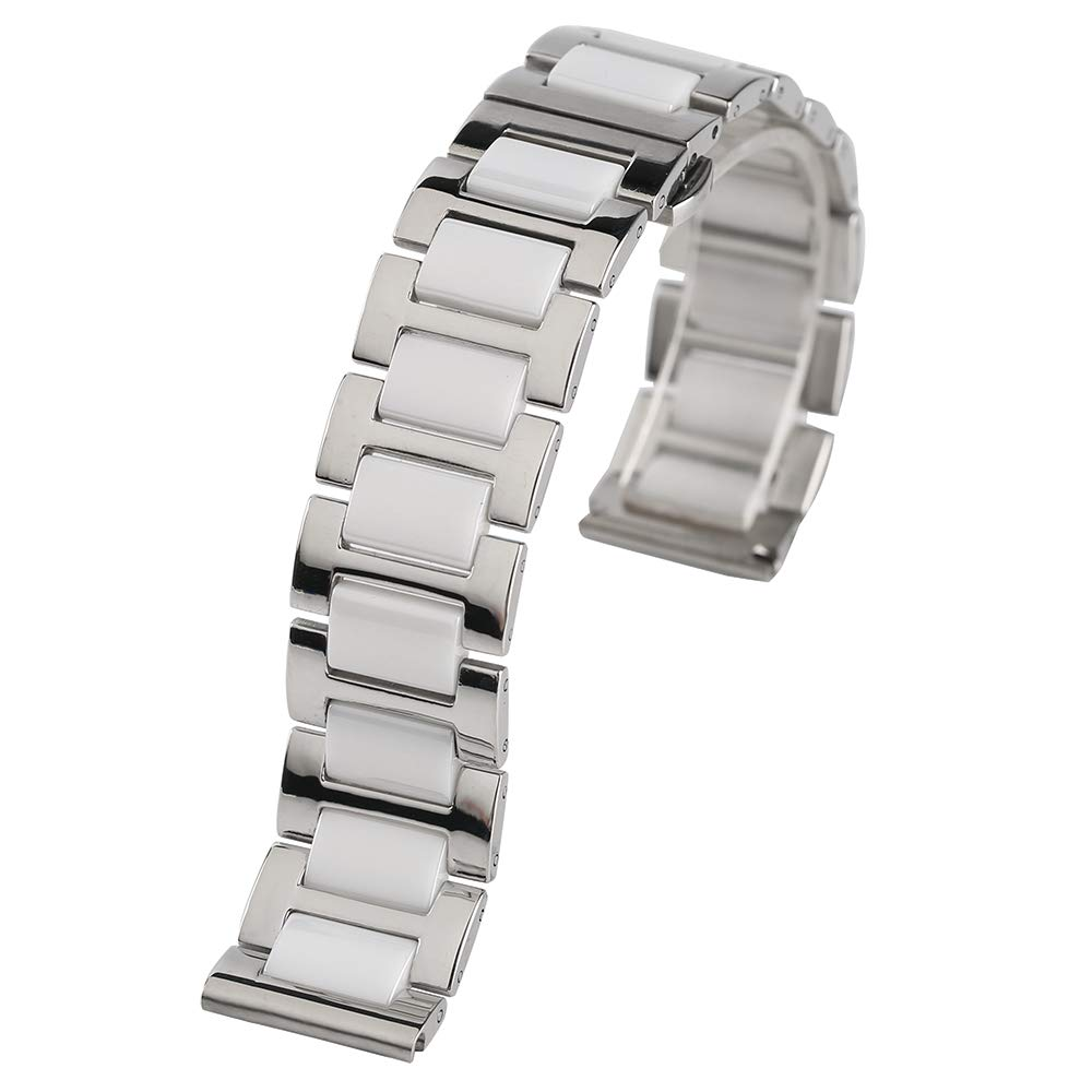 18mm 20mm Stainless Steel Ceramics Watches Band Strap Replace Women Men Watches Band, Replacement Wrist Bracelet