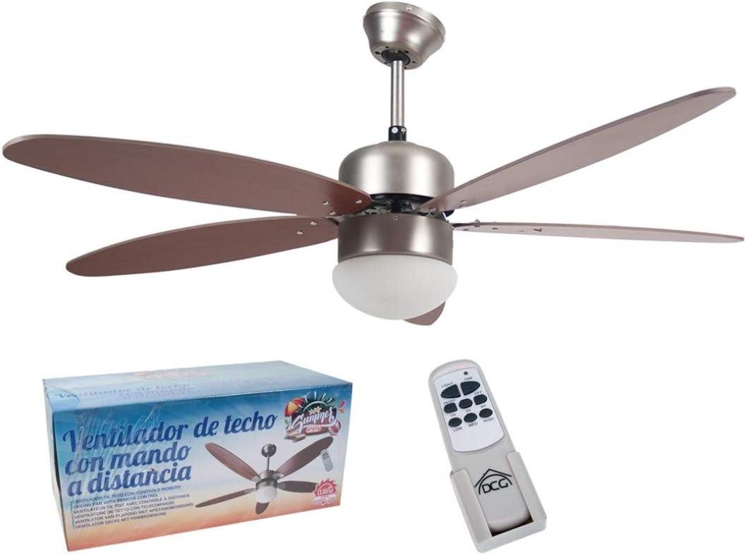 ventilador de Techo en Madera, con Mando a Distancia y luz 5 aspas ...