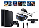 PlayStation VR Bundle 10 Items:VR Headset,Playstation Camera,PS4 Pro 1TB,7 VR Game Disc Until Dawn: Rush of Blood,EVE: Valkyrie, Battlezone,Batman: Arkham VR,DriveClub,Combat League,Eagle Flight