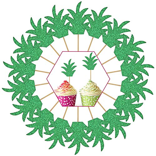 48 Pieces Glittery Cupcake Topper with Pineapple and Palm Leaf Design Cake Topper Decoration for Hawaii Birthday Wedding Beach Party (Style 2) ()