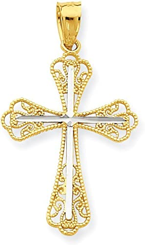10K Yellow Gold Charm Pendant Themed 23 mm 11 Solid Satin Polished Cross