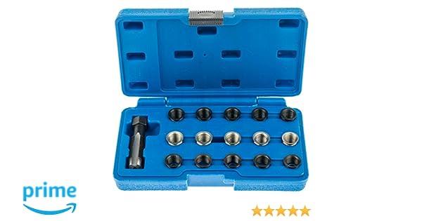 A Juego de 62269 Bujía para reparación de roscas M14 x 1,25 mm con 15 Insertos + Schneider: Amazon.es: Coche y moto