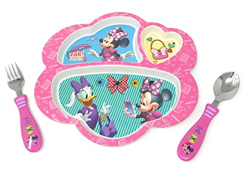 Disney Minnie Mouse Daisy Duck Plate Set Bundle Includes: Divided Plate, Spoon & Fork Kids Dinnerware , BPA Free, (3 Items) (Daisy Fork)