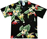 RJC Boys Bird of Paradise Display Rayon Shirt Black 14