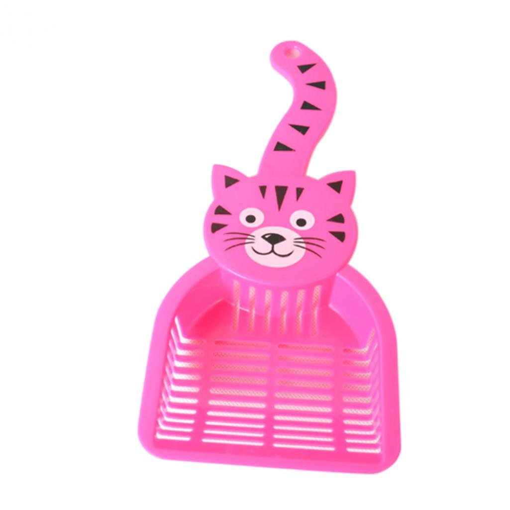 SoundsBeauty Lovely Plastic Litter Scoop Pet Cat Sand Waste Scooper Shovel Cleaning Tool - Pink