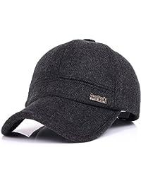 Men's Winter Warm Woolen Peaked Baseball Cap Hat With Earmuffs Metal Buckle