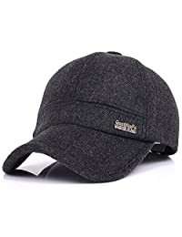 YAKER Men's Winter Warm Woolen Peaked Baseball Cap Hat with Earmuffs Metal Buckle