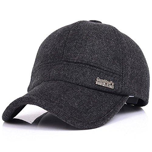 YAKER Men's Winter Warm Woolen Peaked Baseball Cap Hat With Earmuffs Metal Buckle (Wool Mens Ball Cap)