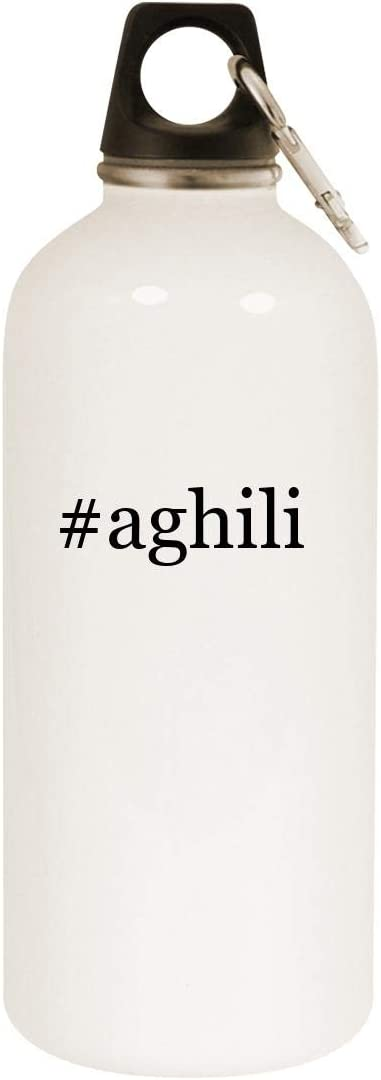 #aghili - 20oz Hashtag Stainless Steel White Water Bottle with Carabiner, White 51m3ZmB7IAL