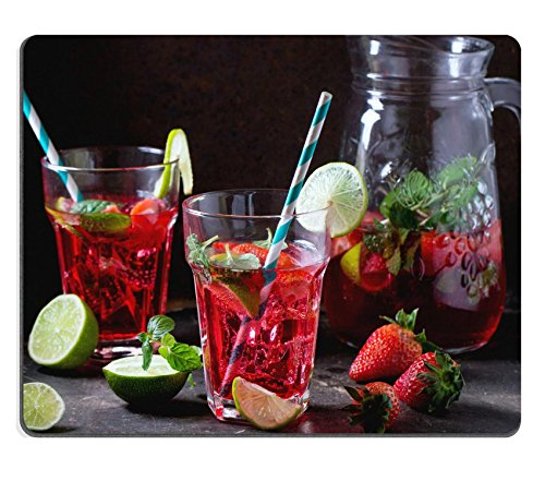 Ret Mint (Luxlady Mousepad Two glasses with retro coctail tubes and glass jug of strawberry lemonade IMAGE)