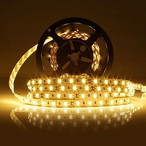 LEDMO 5630 LED Strip, Warm white 16.4Ft 300LEDs Non-waterproof IP20 DC12V 60LEDs/m 25Lm/LED, 2 times brightness than 5050 LED, LED Tape Light, LED Light Strip