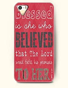 iPhone 4 / 4s Case Blessed Is She Who Believed That The Lord Would Fulfill His Promises To Her Luke 1:45 - Bible Verses - Hard Back Plastic Case - OOFIT Authentic