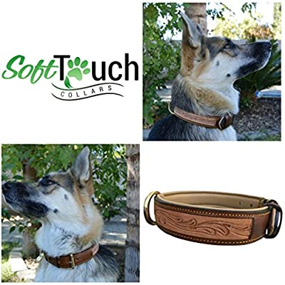 Soft Touch Collars - Padded Leather Dog Collar , Custom Handmade Hand Tooled